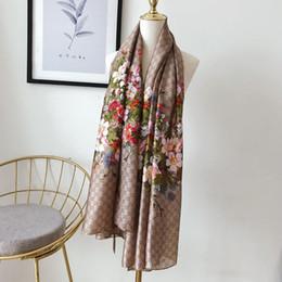 bufanda paisley morada Rebajas Alta calidad 2019 Moda primavera y verano marca bufandas de seda atemporal clásico largo chal moda mujeres bufandas de seda