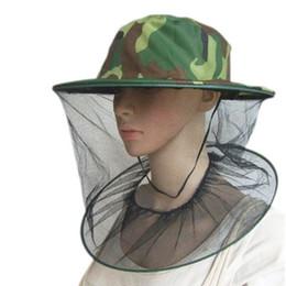 Red solar online-Sombrero de camuflaje al aire libre Protección solar Sombreros de pesca Insecto Mosquito Resistencia Insecto Malla Net Head Head Face ZZA410