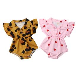 2019 neue 0-24 Mt Sommer Neugeborenes Baby Mädchen Kleidung Leopard Herz Rüschen Baby Mädchen Strampler Valentinstag Kleidung Für Baby Mädchen Summe von Fabrikanten