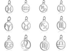 Encantos do zodíaco esmalte on-line-120 pçs / lote Metal Alloy Esmalte Signos Do Zodíaco Encantos Pingente Diy Hand Made Jóias Acessórios