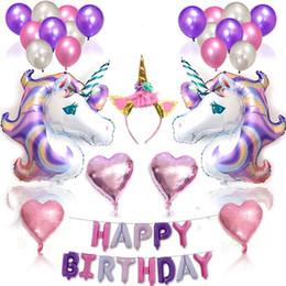 Globos 3d online-Brithday Unicorn Foil Balloon Set Rainbow Unicorn 3D Foil Balloon Letter Heart Balloons Set Niños Decoración de fiesta de cumpleaños HHA733