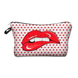 cute korean travel bag Coupons - Printing 3D Makeup Bags With Multicolor Pattern Cute Cosmetics Pouchs For Travel Ladies Pouch Women Cosmetic Bag