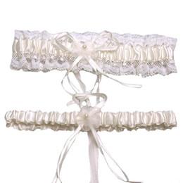 Heiße rosa strumpfbänder online-MISSKY Mädchen Weiblich Ein Satz Heiße Frauen Fleck Peal Lace Floral Hochzeit Strumpfband Brautgürtel 2 Stück Rosa