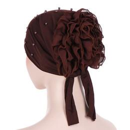 Bufanda de perlas musulmanes online-Nuevo patrón Volver La Flor Nail Pearl Color sólido Will Flower Bufanda Sombrero Confinamiento Sombrero Paquete musulmán Gorra de cabeza