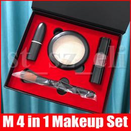 Lápiz labial cara online-El nuevo maquillaje M Ajuste de chile Barra de labios mate Lipgloss brillo de labios Cara de resaltado en polvo compone el cepillo 4 en 1 kit de cosméticos