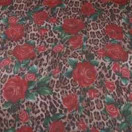 chiffon rosas tecido Desconto 145 cm Largura Leopard e Rose Imprimir Tecido de Chiffon de Poliéster Transparente para a Mulher Vestidos de Verão Blusa De Costura-AF974