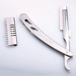 2019 coltello ad anello di difesa Coltello da uomo confortevole in argento rasoio manuale rasoi in acciaio inox professionale unisex portatile rasoio tagliente durevole taglio di capelli DH0849