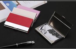 2019 оптовые держатели визитных карточек БИЗНЕС ID КРЕДИТНЫЕ КАРТЫ ЧЕХОЛ ИЗ НЕРЖАВЕЮЩЕЙ СТАЛИ МОДА КАРТЫ ДЕРЖАТЕЛИ КОРОБКИ МЕТАЛЛ PU КОЖАНЫЙ КАРМАН ОПТОМ дешево оптовые держатели визитных карточек