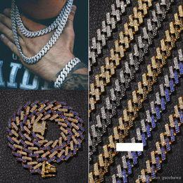 2020 catene di diamanti mens 15 millimetri 6 colori dal design di lusso Oro Argento Hip Hop della collana della catena del diamante di Bling Cuban Link for Men Miami Rapper Bijoux Mens monili delle catene catene di diamanti mens economici