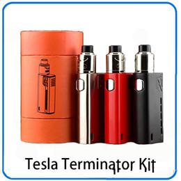 kits de arranque terminador Rebajas caja vw Tesla Terminator 90w mods mod El abridor de los kits del kit teslacigs vaping tc vaporizador con antman 22 RDA tanque atomizador cigarrillo electrónico
