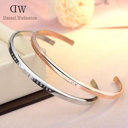 Manschetten armband designs online-100% Edelstahl DW Manschette Armbänder Luxus Design Rose Gold Silber Armbänder Armreifen Für Frauen Männer Pulsera Geschenk