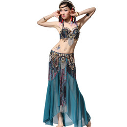 Mujeres tribales de danza del vientre Monedas Sujetador de láminas de cobre Falda larga de gasa Disfraz Performance Dancewear Conjunto de traje (Bra + Falda) desde fabricantes