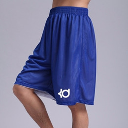 Мужские спортивные шорты онлайн-Мужские шорты KD Shorts Homme Mens Summer Sporting Двухсторонняя сетка Длина до колен Шорты для бега