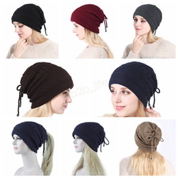 wool skull caps Promo Codes - Dual Purpose Ponytail Scarf Beanies Winter Women Knitted Hat Warm Wool horsetai Skull Beanie Solid Crochet Ski Outdoor Caps scarves LJJA2931