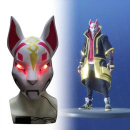 Traje de raposa do dia das bruxas on-line-Kitsune Fortniter Máscara drift Fox Com Led Light Battle Royale Full Face Máscara Do Partido Do Dia Das Bruxas Melhor Traje de Venda Legal Máscara
