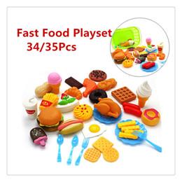 cachorros de brinquedo de plástico para crianças Desconto Plástico Fast Food Playset Mini Hamburgo Fries Hot Dog Gelado de Gelado Cola Food Toy para Crianças Fingir Presente Do Jogo para As Crianças