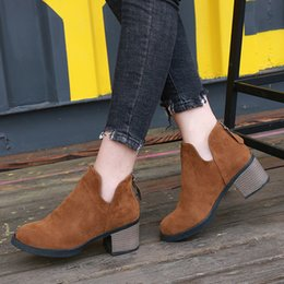 7dcb29d6e72 Back Zipper Women Boots Square Heel Platforms Frosted Suede Leather Pump Shoes  Woman Botas Australia Mujer Female Winter Boots