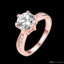 Anéis chapeados on-line-Mulheres Homens Anel de Moda Jóias Marca de Noivado Anéis De Casamento Diamante Como o Cristal Banhado A Ouro 18K Anéis De Diamante De Casamento