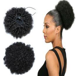clips africanos gratis Rebajas Clip en extensiones de cola de caballo de cabello humano con cordón ajustable 6 pulgadas de pelo de cola de caballo afro rizado mongol para el color del cabello negro