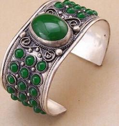 Canada Excellente gemme verte perle manchette Bracelet en argent du Tibet unisexe gros bijoux de mariage de belles femmes supplier wholesale green onyx beads Offre