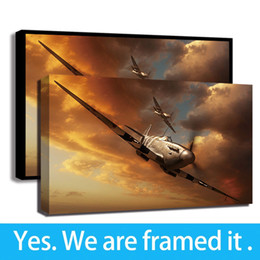 oil paintings art print canvas frame Promo Codes - High-Altitude Spitfire Wars Aircraft Poster Framed Canvas Art Wall Print Painting Poster For Living Room Decor - Ready To Hang - Frame