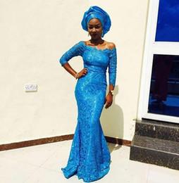 vestidos de moda nigeriana Rebajas 2019 fuera del hombro de encaje sirena vestidos de noche 3/4 mangas largas azul Bella Naija vestidos de mujer estilo africano estilo nigeriano vestidos de baile