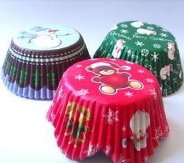 2019 recipientes de cupcake de plástico descartáveis Free Shipping 300pcs 3 designs snowflake,santa,snowman merry christmas Cupcake Liner muffin baking Cup cake mold
