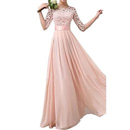 Spitze über knie brautkleid online-Damen Lace Chiffon A-Linie lange über dem Knie, Minikleid Hochzeit Brautjungfer Kleid