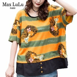 Полосатые рубашки корейская мода онлайн-Max  2019 Summer  Korean Fashion Ladies Punk Streetwear Womens Casual Striped T-shirt Funny Tops Cotton Tee Shirts