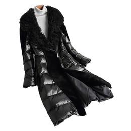 Vera pelliccia cappotto vera pelle giacca autunno inverno giacca donna vestiti 2018 coreano lana d'epoca spessa verso il basso cappotti ZT1441 da maniche in pelle con giacca da uomo fornitori