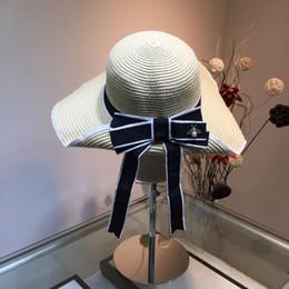 Grandi cappelli eleganti online-Guc Big eaves cappello da donna cappello parasole arco fiocco irregolare moda migliore qualità elegante eaves cappello