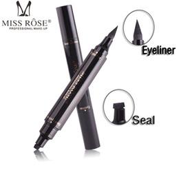 Двойной подводка для глаз онлайн-MISS ROSE Winged Eyeliner Stamp Двухсторонняя жидкая ручка для подводки век для глаз Водонепроницаемая смазка для глаз Длительный карандаш для глаз Vamp Style
