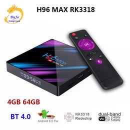 2019 affichage pandora H96 MAX RK3318 Android 9.0 TV Box Top 4G 64G Double Wifi 2.4G 5G BT 4.0 4K HD Set Top Box Lecteur multimédia Affichage numérique Boîte intelligente promotion affichage pandora