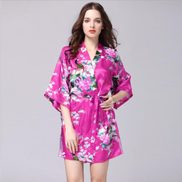 Roupa interior japonesa da forma on-line-Hot Moda Venda de Mulheres Sexy Japanese Silk Kimono Robe Pijamas Nightdress Pijamas quebrado Flor Kimono Roupa interior Banho 12 cores S-XXL