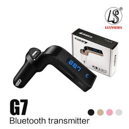 iphone bluetooth carro acessórios Desconto CAR G7 Bluetooth MP3 FM Transmissor Sem Fio Bluetooth Car Kit Mãos Livres Transmissor FM Adaptador Com Carregador de Carro USB Com Pacote