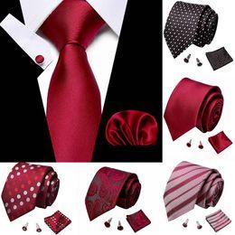 dos homens do casamento Laço Handkerchief Cuffink gravata Set tecido jacquard 7,5 centímetros 100% Silk Red Soild gravata Acessórios de luxo Bow Tie de