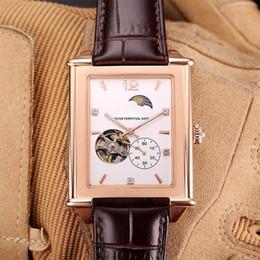 2019 reloj esqueleto banda marrón Nuevos relojes para hombre banda de cuero marrón negro reloj cuadrado de lujo movimiento mecánico automático hombres reloj de pulsera fase lunar diseño reloj esqueleto reloj esqueleto banda marrón baratos