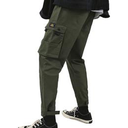 13b1cbc7ad Pantalones de hombre Pantalones de chándal flacos 2019 Nuevo Pure Color  Loose Multi-pocket Workwear Pantalones Pantalones Streetwear Track Jogger
