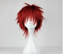 Parrucca rossa dei capelli di anime online-SPEDIZIONE GRATUITA + Red Short Layered Ondulato Kuroko no Basuke Seijuro Akashi Hair Wig Cosplay Anime f