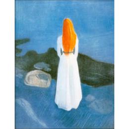 Pinturas a óleo on-line-Pinturas a óleo arte moderna Edvard Munch Young Girl em um jetty obras de arte abstrata para decoração de casa