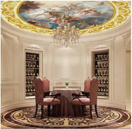 fonds de palais Promotion Personnalisé 3D photo soie papier peint européen zénith dôme palais plafond plafond zénith lampe ronde piscine murale fond stickers muraux