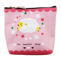 Casos clave a prueba de agua online-Estuche de lápices con cremallera impermeable Cute A lamb Portable Key Coin Purse Makeup Bag Pink