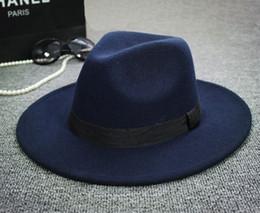 All'ingrosso-2015 Alla moda nuove donne dell'annata Mens Fedora cappello di feltro delle signore floppy ampia tesa di lana feltro fedora cappello a cloche chapeu fedora a0451 da