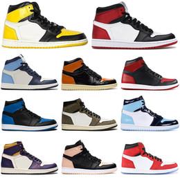 zapatos para hombre de nueva york Rebajas Nike air jordan retro 1 1s Zapatillas de baloncesto UNC hombres Satén Negro Toe NYC TO PARIS TURBO GREEN SPIDERMAN zapatillas de deporte para hombre Zapatillas deportivas