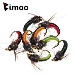 ganchos de pesca por atacado de polvo Desconto 8 pcs # 12 Cabeça Do Grânulo De Bronze Rápido Siking Ninfa Scud Fly Bug Verme Para Truta Pesca Nymphing Inseto Artificial Isca Isca Verde