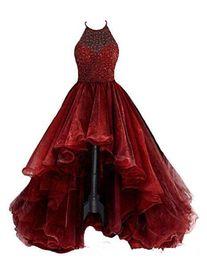 Canada 2019 New Halter High Low Robe De Bal Tulle Rouge Foncé Sexy Sexy Occasionnel Robes De Soirée Robe De Bal Robe Offre