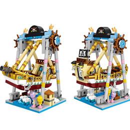 Mini Blocks Amusement Park Series Nave pirata Ruota panoramica Girotondo macchina per aereo rotante Giocattolo in plastica fai da te per bambini da