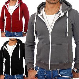 Sweats zippés à capuche sweats zippés à capuche en Ligne-Nouveau Hommes Casual Sweat à capuche en molleton chaud sweat à capuche zippée vêtements d'hiver Sweat à capuche Manteaux Coton Outwear Homme manteau Hoodies