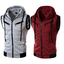 Chaleco gris con capucha de algodón online-Nuevo diseño de moda traje de negocios informal chaleco con capucha / gris negro de gama alta de algodón de los hombres de los hombres chalecos de alta calidad Dropshipping