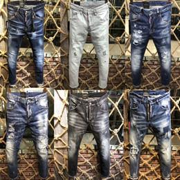 2019 neue klassische modemarke d2 jeans männer stilvolle ausgefranste patchwork jeans hüfte reißverschlüsse taschen design vogue beiläufige dünne jeans von Fabrikanten